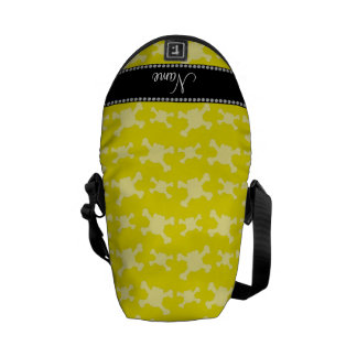 Personalized name yellow skulls pattern messenger bags