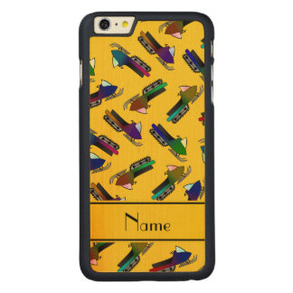 Personalized name yellow snowmobiles carved® maple iPhone 6 plus slim case