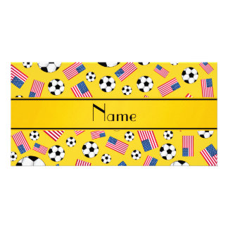 Personalized name yellow soccer american flag picture card