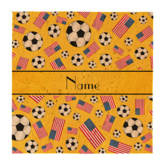 Personalized name yellow soccer american flag coasters