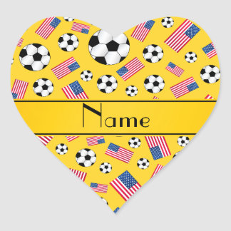 Personalized name yellow soccer american flag heart stickers