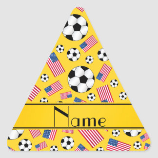 Personalized name yellow soccer american flag triangle sticker