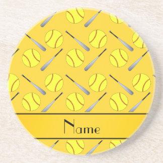 Personalized name yellow softball pattern drink coaster