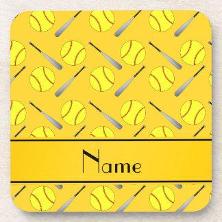 Personalized name yellow softball pattern drink coasters