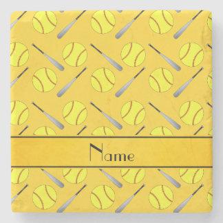 Personalized name yellow softball pattern stone beverage coaster