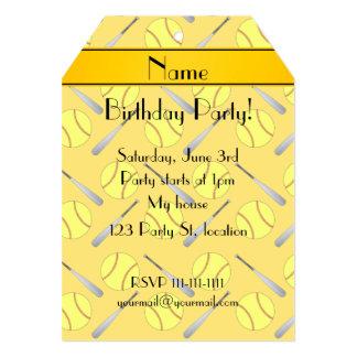 Personalized name yellow softball pattern 5x7 paper invitation card