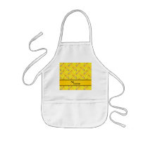 Personalized name yellow softball pattern kids' apron