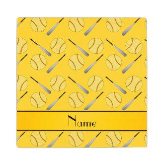 Personalized name yellow softball pattern wood coaster