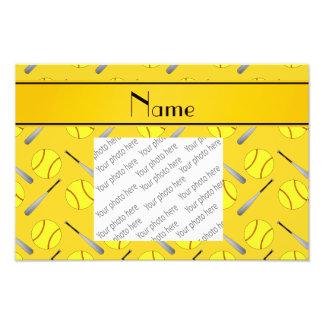 Personalized name yellow softball pattern photo print