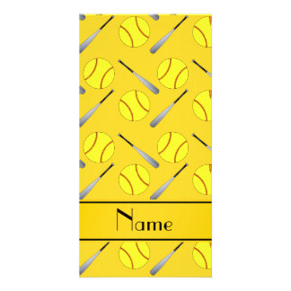 Personalized name yellow softball pattern photo card