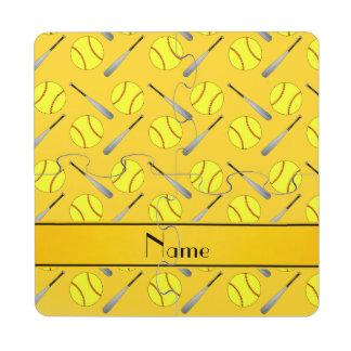 Personalized name yellow softball pattern puzzle coaster