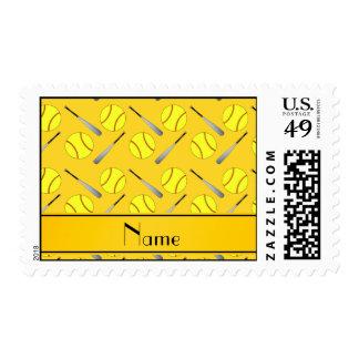 Personalized name yellow softball pattern stamp