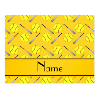 Personalized name yellow softball pattern post cards