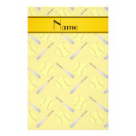 Personalized name yellow softball pattern personalized stationery