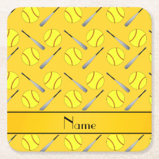 Personalized name yellow softball pattern square paper coaster