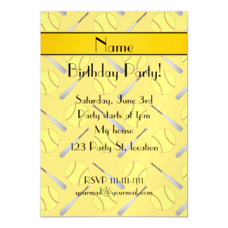 Personalized name yellow softball pattern magnetic invitations