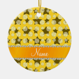 Personalized name yellow stars volleyballs ceramic ornament