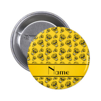 Personalized name yellow sugar skulls 2 inch round button