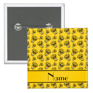 Personalized name yellow sugar skulls 2 inch square button