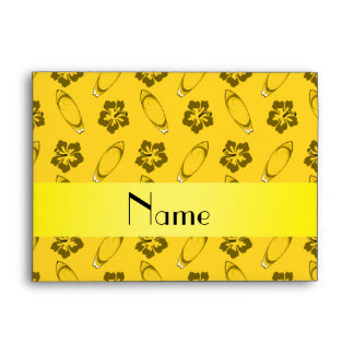 Personalized name yellow surfboard pattern envelopes