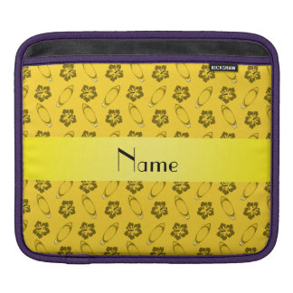 Personalized name yellow surfboard pattern iPad sleeve