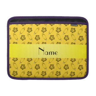 Personalized name yellow surfboard pattern sleeves for MacBook air