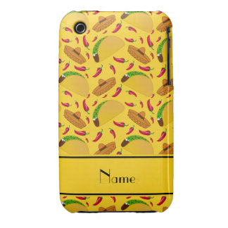Personalized name yellow tacos sombreros chilis iPhone 3 Case-Mate case