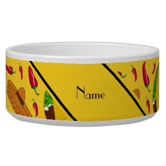 Personalized name yellow tacos sombreros chilis pet water bowls