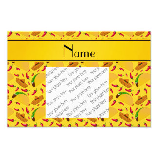 Personalized name yellow tacos sombreros chilis photo print