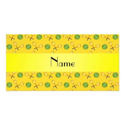 Personalized name yellow tennis balls personalized photo card