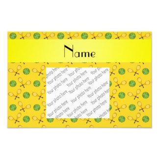 Personalized name yellow tennis balls photo art