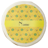 Personalized name yellow tennis balls sugar cookie
