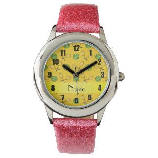 Personalized name yellow tennis balls wrist watch