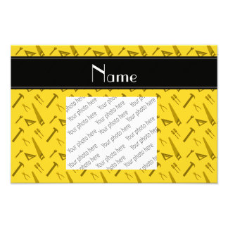 Personalized name yellow tools pattern photo print