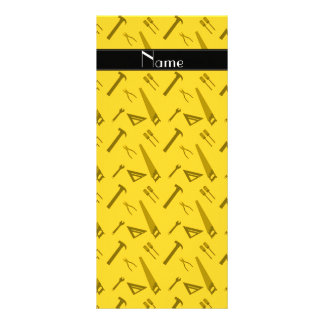 Personalized name yellow tools pattern rack card design