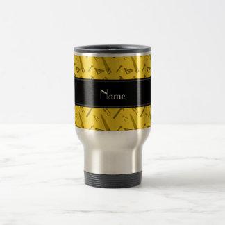 Personalized name yellow tools pattern travel mug