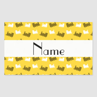 Personalized name yellow train pattern stickers