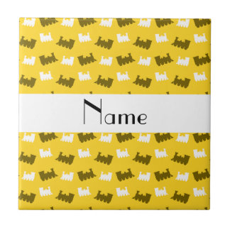 Personalized name yellow train pattern tile