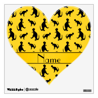 Personalized name yellow trex dinosaurs room sticker