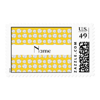 Personalized name yellow volleyball balls postage stamp