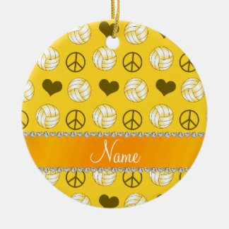 Personalized name yellow volleyballs peace hearts ceramic ornament