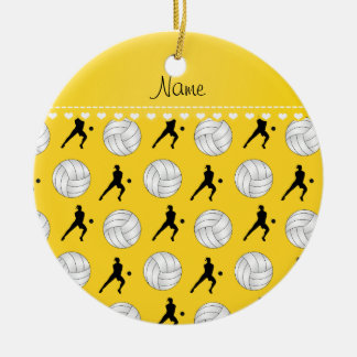 Personalized name yellow volleyballs silhouettes ceramic ornament