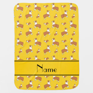 Personalized name yellow Welsh corgi pembroke dogs Receiving Blanket