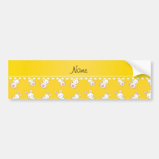 Personalized name yellow white bunnies car bumper sticker