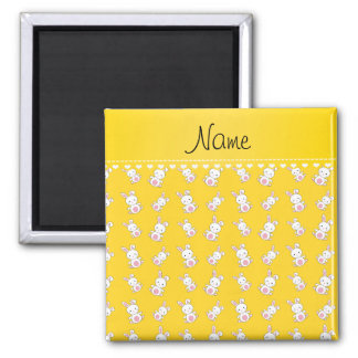Personalized name yellow white bunnies 2 inch square magnet
