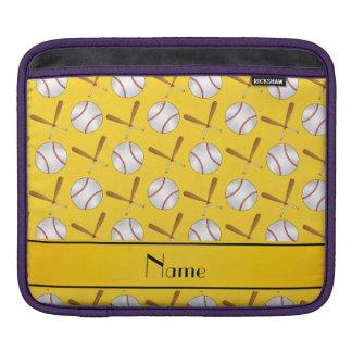 Personalized name yellow wooden bats baseballs iPad sleeve
