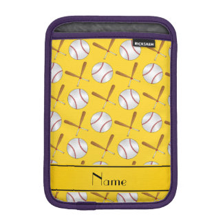 Personalized name yellow wooden bats baseballs sleeve for iPad mini