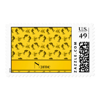 Personalized name yellow wrestlers postage