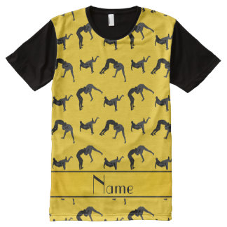 Personalized name yellow wrestling silhouettes All-Over print t-shirt