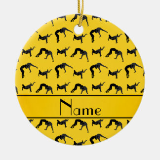 Personalized name yellow wrestling silhouettes ceramic ornament